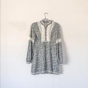 {Free People}Black & White Boho Paisley Mini Dress